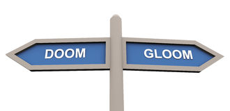Doom and gloom. 3d road sign of text 'doom' and 'gloom Stock Photos