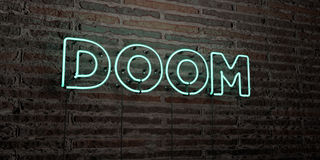 DOOM -Realistic Neon Sign on Brick Wall background - 3D rendered royalty free stock image. Can be used for online banner ads and direct mailers Stock Photography