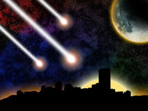 Doomed city. Comet falldown on a city on sunset Stock Photography