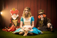 Doomed fairy tale characters. Doomed characters in the fairy tale in Wonderland Stock Photos