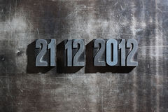 Doomsday 21. December 2012. Antique metal letter-press typ: Doomsday 21. December 2012 Stock Photos