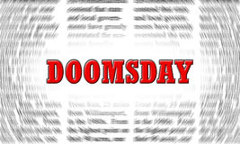 Doomsday. Written on a newspaper background Stock Image