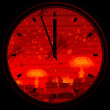Doomsday clock. Showing 3 minutes to midnight against nuclear war background (other landscapes are in my gallery Royalty Free Stock Images