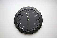 Doomsday Clock. Last time. Black clock. Midnight stock photo