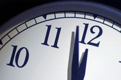 Doomsday Clock, Two Minutes Till Midnight. Close up shot of a dramatically lit black and white clock set at two minutes till midnight.  The 2018 new marker set Royalty Free Stock Photo