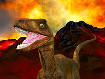 Doomsday for dinosaurs. Illustration of the doomsday for dinosaurs some 65 million years ago Royalty Free Stock Photos