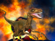Doomsday for dinosaurs. Illustration of the doomsday for dinosaurs some 65 million years ago Stock Image