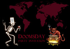 Doomsday party invitation. Drinking skeleton with hat and cigarette, devil mixing big boiling pot, illustration Royalty Free Stock Photography