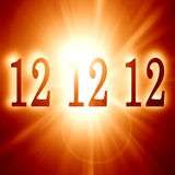 Doomsday. 12 12 12 written on a soft red background (doomsday Stock Image