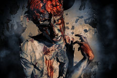 Doomsday zombie. Bloody zombie man with brains out. Horror. Halloween Stock Image
