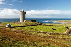 Doonagore Castle in the beautiful scenery-Ireland. Doonagore Castle is a round 16th-century tower house with a small walled enclosure located about 1 km above Stock Image