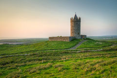 Doonagore castle at dusk. Ireland Royalty Free Stock Photos