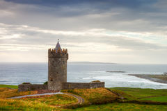 Doonegore castle in  Ireland. Royalty Free Stock Photos
