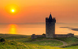 Doonegore castle at sunset in Doolin Royalty Free Stock Photography