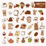 Dooodle Coffee and Tea c icon set. Royalty Free Stock Photo