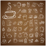 Dooodle Coffee and Tea c icon set. Royalty Free Stock Photos
