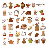 Dooodle Coffee  and Tea c icon set. Royalty Free Stock Photos
