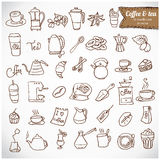 Dooodle kawa i Herbaciany c ikony set. Obrazy Stock