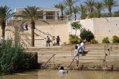 Doopplaats op Jordan River, Qasr al-Yahud, Israël Stock Foto's
