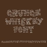 Doopvont van de Grunge de uitstekende whisky Oud handcrafted vertoning skript Het moderne borsteletiket van letters voorzien Vect Royalty-vrije Stock Fotografie