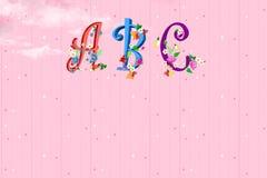 Doopvonten ABC met bloemen Stock Afbeeldingen