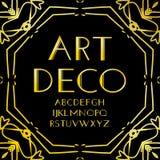 Doopvontvector Art deco uitstekend alfabet, retro gouden kader of grens Luxeontwerp abc op zwarte achtergrond wordt geïsoleerd di Stock Afbeeldingen