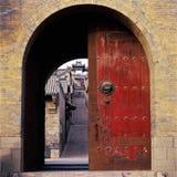 The door. It's the entrance of The Folk Forbidden City Wang's Courtyard. The door to memories is opened Stock Photos