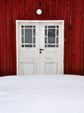 Door. White door in red house Stock Image