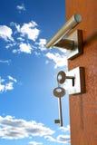 Door. Opened door with birght sky Stock Images