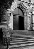 Door. Black and white photo of the church entrance Royalty Free Stock Photo