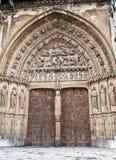 The door. A door with beauty stone figures Stock Photo