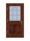 Door. Realistic illustration of a wooden door with frosted glass panel Stock Image