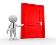 Door. 3d people - man, person and a door Stock Photos