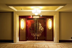 Door. With gold metallic ornaments in a luxury hotel Royalty Free Stock Photography
