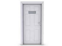 Door. 3d render of a door with blank sign on it for easy manipulaton Stock Image