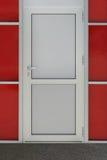 Door. Closed white door made from aluminum metal Stock Image