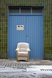 Door. Chair and snow royalty free stock images