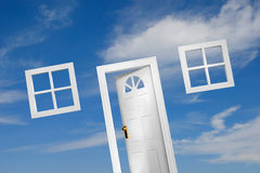 Door (5 of 5). Door and windows on sky background. A house of your dream Royalty Free Stock Photos