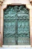 Door. Bronze decorated door on the entrance to University stock photo