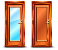 Door. Closed from wood and glass, classic design with lock, illustration Stock Images