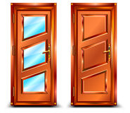 Door. From wood and glass, classic design with lock, illustration Stock Photos