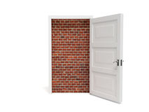 Door. White door on white background filled with the bricks Royalty Free Stock Photo