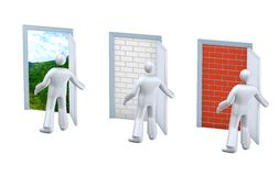 Door. Person making the choice, finding the right way, fate struggle metaphor, looking for a job or work Stock Photos