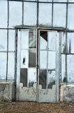 Door of abandoned greenhouse Royalty Free Stock Images