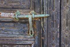 Door abstract  spain a green closed    lanzarote Royalty Free Stock Images