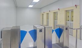 Door Access Control. Automatic Control Operation Air Shower for Clean Room stock photography