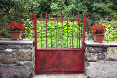 Door that accesses the garden. Red iron door that accesses the garden with two planters of red geraniums Royalty Free Stock Photography