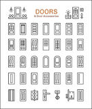 Door and accessories. Line icon set Stock Image