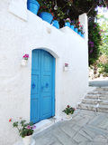 Door achitecture detail in hotel building Greece Stock Photo