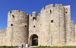 Door of Aigues Mortes. Door of Ramparts of the strengthened city of Aigues-Mortes - France Royalty Free Stock Images